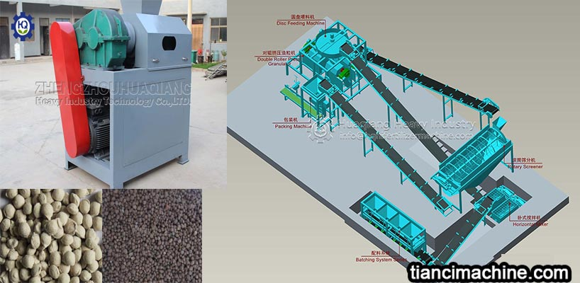 The characteristics of the process flow of the roller npk fertilizer granulator